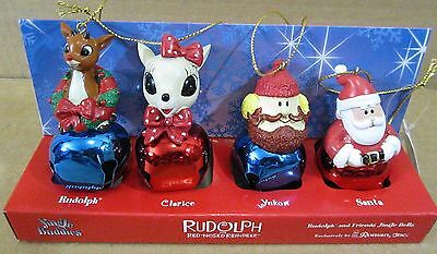 Set Of 4 Rudolph The Red Nose Reindeer Clarice Yukon Santa Jingle Bell Ornaments
