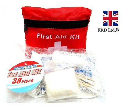 38Pc Deluxe Medical Emergency FIRST AID KIT Travel Home Office Car + STORAGE BAG