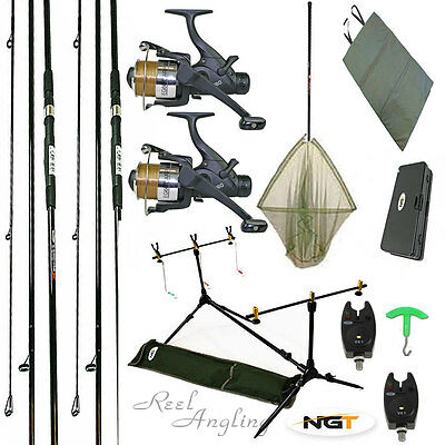 Carp Fishing Kit 2Rods Reels Bite Alarms, Rod Pod Landing Net Ngt Rig Wallet