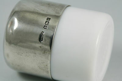 Vintage Sterling Topped Milk Glass Cosmetic Jar S Blanckensee and Son Ltd 1903