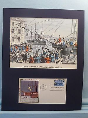 The Boston Tea Party & First day Cover of its own stamp