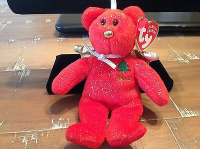 TY Jingle Beanie Baby - GIFT the Bear - Peace - Red Version 5 inch (BB01)