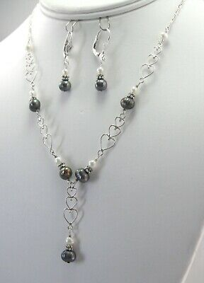 """NEW Fine 925 Sterling Silver and Pearls Necklace and Earrings Matching Set 16"""""""