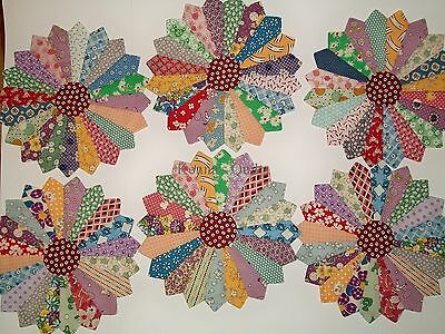 11 inch - 1930s Aunt Grace Dresden Plate Applique for Quilt Block or top