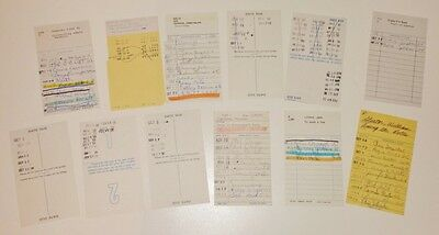 Vintage Library Check Out Borrow Lend Cards Used Scrapbooking Crafting Lot of 12
