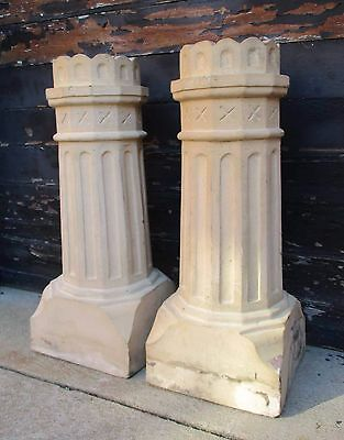 "Antique Pair Architectural Terracotta Chimney Tops,Pots ""Calumet"" 30""T Pot,Top"
