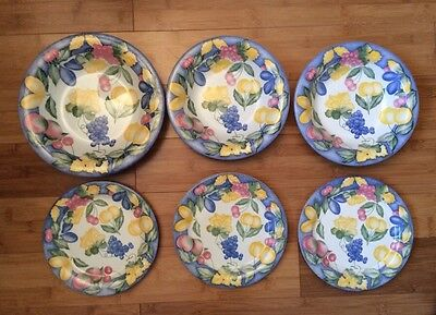 Different Size Set of 6 QUADRIFOGLIO CERAMICA ITALY Fruit Pattern Bowls &Plates