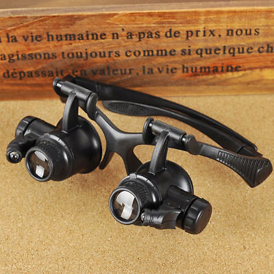 20X LED Magnifier Magnifying Double Eye Glasses Loupe Lens Jeweler Watch Repair