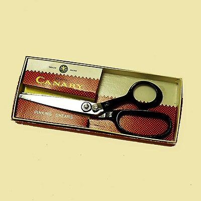 "Red Canary Pinking Shears Vintage Sewing Scissors in Original Box 8"" SEKI Japan"