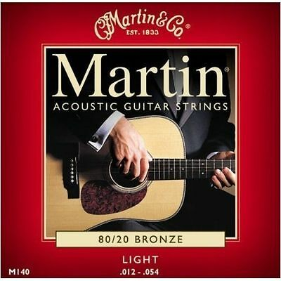 Martin M140 Light Acoustic Guitar Strings 80/20 Bronze .012 - .054 New