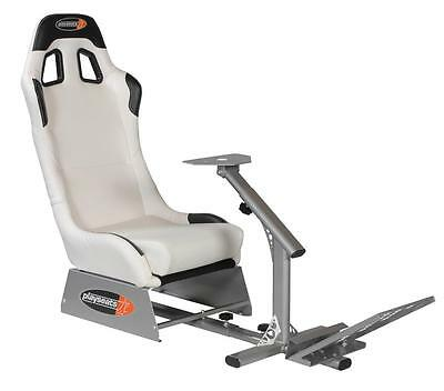 Playseat Evolution Racing Seat White w newer pedal holder f Fanetec Thrustmaster