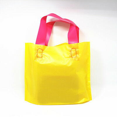 Yellow Plastic with Handle Shopping Bag Gift Apparel Packaging Pouch