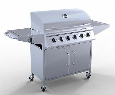 6 Burner BBQ Gas Grill Stainless Steel Barbecue + 1 Side Silver Outdoor Portable