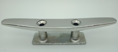 Boat Cleat Low Flat  Deck or Dock Slim Profile 316 Stainless 150mm Polished Top