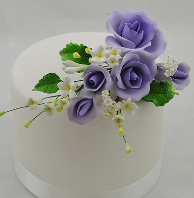 Lavender Purple Garden Rose Spray Sugar flower wedding birthday cake decorati