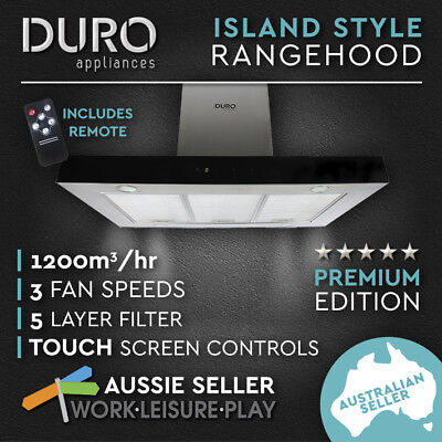 New Commercial 900mm Canopy Glass Range Hood Island Style Motor LED Rangehood
