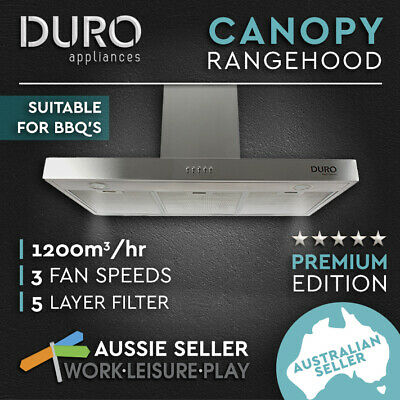 New Commercial 900MM Canopy Range Hood Alfresco Motor BBQ Rangehood Kitchen 90cm