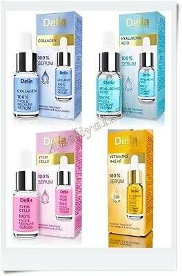 Delia, 100 % Serum, face & neckline, collagen, hyaluronic, paraben free