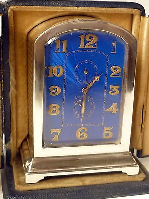 Fine Antique Swiss Sterling Silver Travel Clock with Case LONGINES