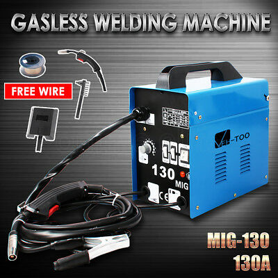 Portable 130Amp MIG Gasless Welder Welding Machine MIG-130 15A Plug Wire Roll OZ