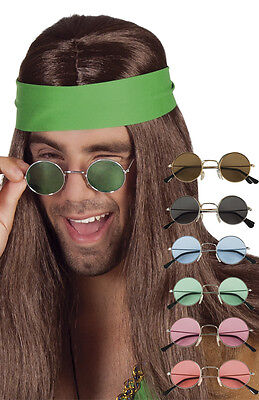 Novelty Hippie 70's Era Round Frame Sunglasses Fancy Dress Accessory