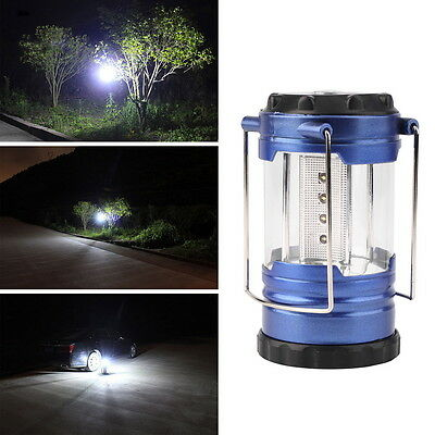 12 LED Portable Camping Camp Lantern Light Lamp with Compass-Blue  D#