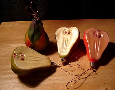 4 Christborn Germany Glitter Fruit Pear Blown Glass Christmas Tree Ornaments