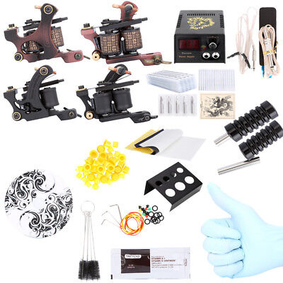 Pro Complete Tattoo Kit 40 Color Inks Power Supply 2 Machine Guns 20  Needles