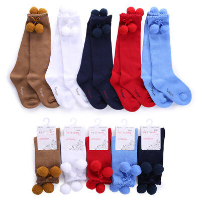 Toddler Girls Pom Pom Socks Children Kids Knee High School Party Socks 5 Colors