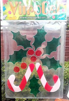 Vitrogel Christmas Candy Cane Holly Reusable Gel Window Clings Stickers