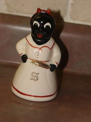 Vintage Mammy Salt Shaker Hand Painted Gold Accents Black Americana