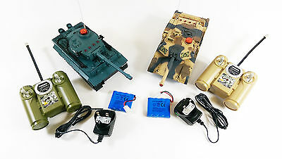 New Twin Pack Geman Tiger & M1A2 Infrared Battle Radio Remote Control RC Tank