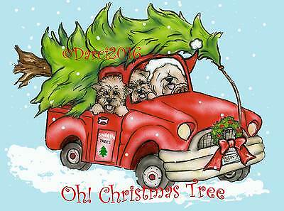 Wheaten Terrier  Oh Christmas Tree Note cards ships free in The USA