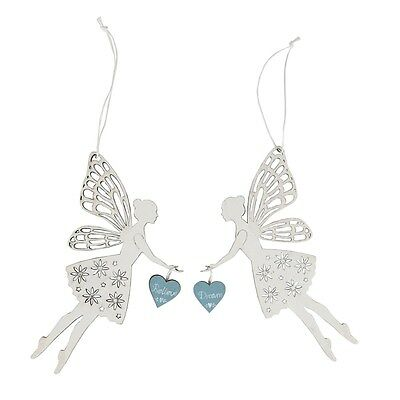 Sparkling Wooden Fairy Believe OR Dream Hanging Decoration