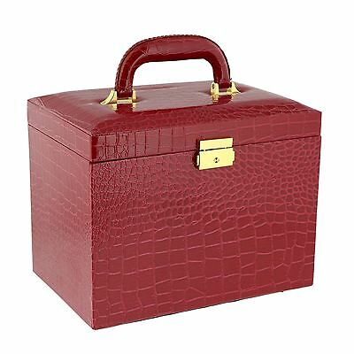 Large Red Croc Printed Faux Leather Jewellery Box by Aevitas