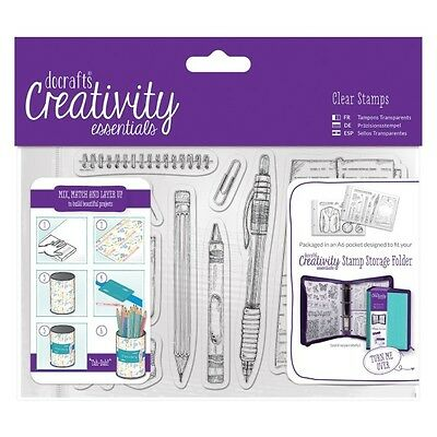 Docrafts: A6 Clear Stamp Set - Stationery
