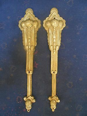 PAIR of FRENCH Antique Bronze PLATES PLAQUES FINIALS