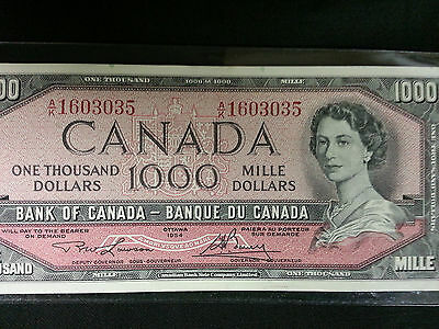 1954 Bank Of Canada Notes $1000, $100, $ 50, $ 20, $ 10 & $ 5