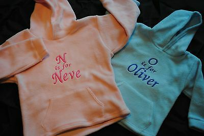 Girls Pink Hooded fleece Any Name personalised with front pockets age 2/3yr Pink