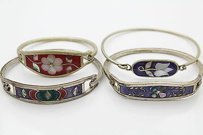 Lot of 4 Inlaid Cuff Bracelets with Natural Gemstone and Enamel Work
