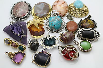 Lot of 18 Pieces of Faux Gemstone Fashion Jewelry - Mix of Brooches & Pendants