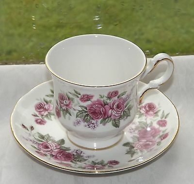 Queen Anne English China Vintage Coffee Cup and Saucer Pink Roses