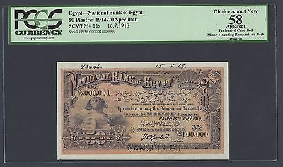 Egypt 50 Piasters 16-7-1918 P11s Specimen Perforated  About Uncirculated