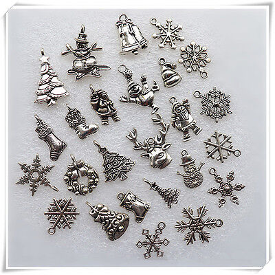 50x Mixed Tibetan Silver Christmas Pendants Charms Bead Necklace Bracelet Craft