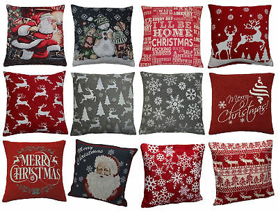 "Festive Christmas Cushion Covers Decorative Xmas Festive Home Scatter 17"" 18"""