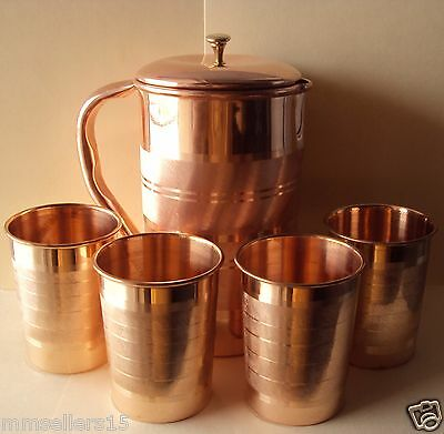 Pure Copper Handmade Jug Water Pitcher 1.5 L & 4 Glasses Tumbler 300 ml Storage