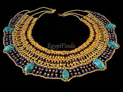 LRG Egyptian Handcrafted Beaded Queen Cleopatra Necklace With 7 Scarabs