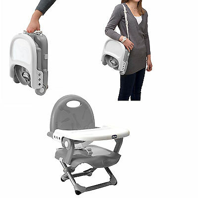 Baby Booster Snack Seat Silver Chicco Pocket Portable Lightweight Safety Kids NE