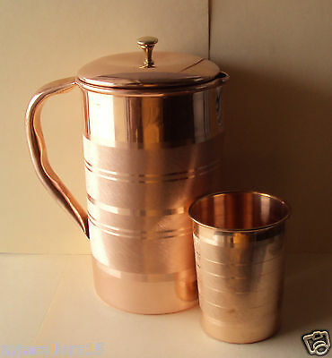 Pure Copper Handmade Jug Water Pitcher 1.5 L & Glass Cup Tumbler 300 ml Storage