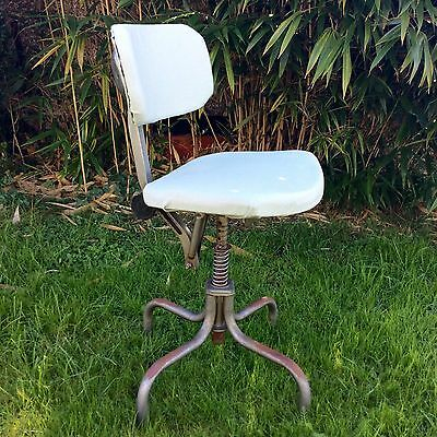 Vintage Adjustable Industrial Swivel Chair Factory Stool  Royalty ? 1950 60's